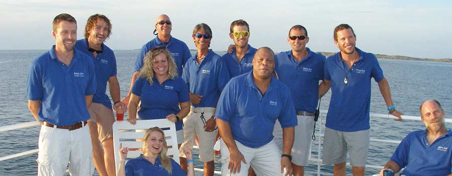 The crew off the Bahamas scuba diving liveaboard Aqua Cat