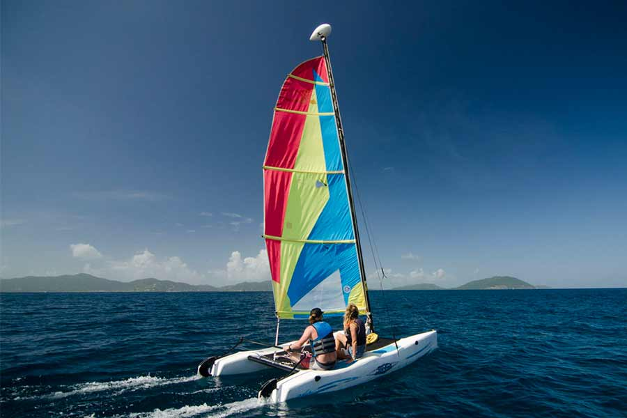 Cuan Law passengers sailing Hobie Cats
