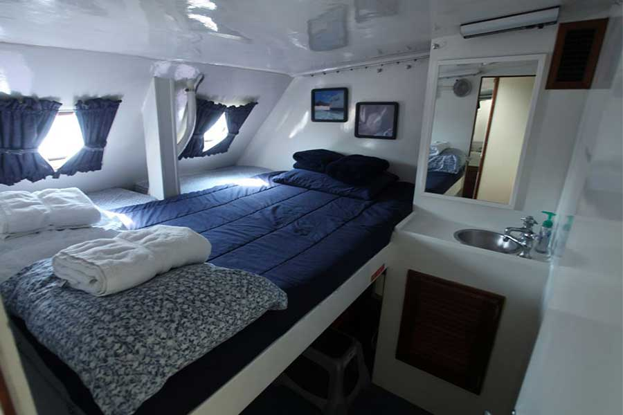 Cabin #5 on Cat Ppalu. The Cat Ppalu is available for yacht charter out of Nassau, Bahamas to the Exumas.