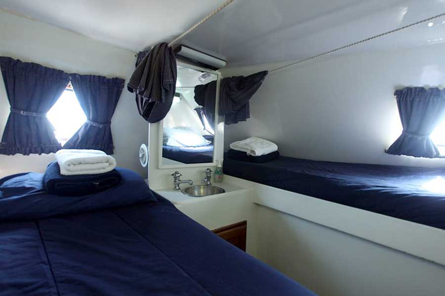 Cabin #3 on the Cat Ppalu. The Cat Ppalu is a charter sailing yacht in the Exumas, Bahamas.