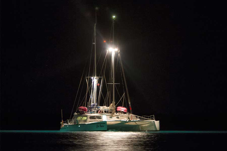 The charter yacht Cat Ppalu. It offers week long trips for 12 passengers from Nassau, Bahamas to the Exuxmas.