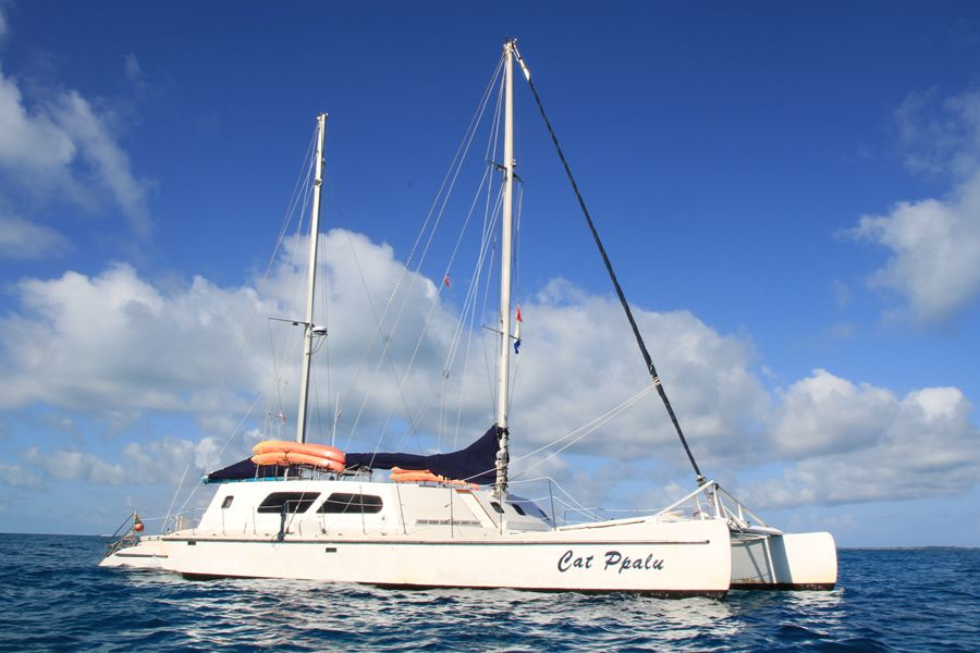 Bahamas charter yacht Cat Ppalu sailing the Exuma Cays. It carries 12 passengers on it's dive trips.