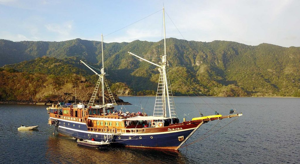 Drone shot of All Star Aurora on a Komodo dive liveaboard trip