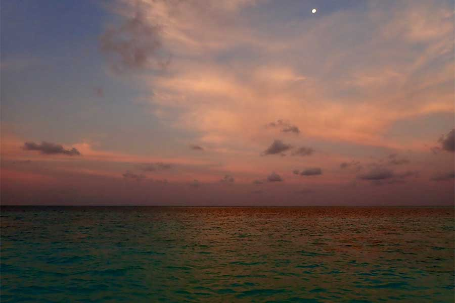 Sunset over Tubbataha in The Philippines in the Coral Sea