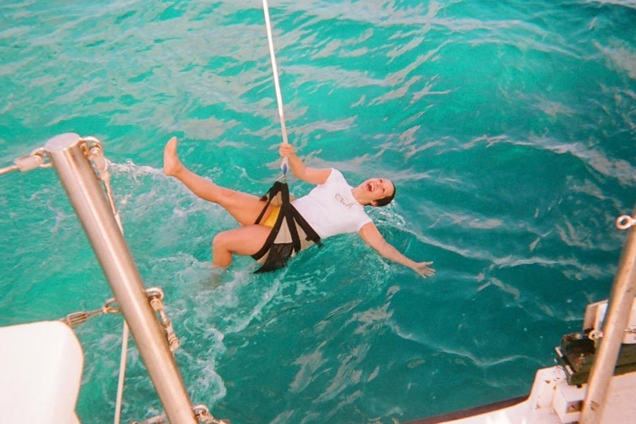 Fun times swinging on Blackbeard's halyard swing.