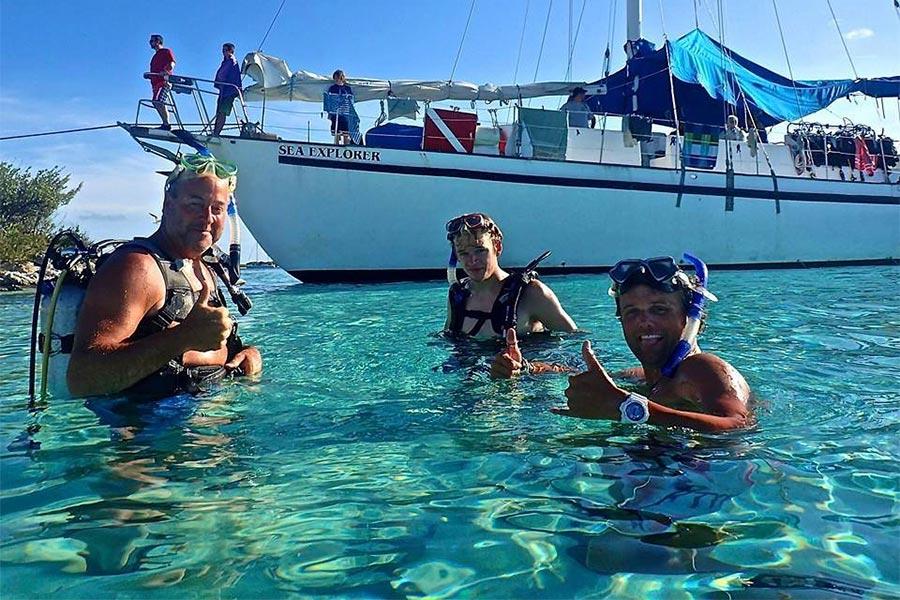 Blackbeard's dive liveaboard Sea Explorer anchored off a Exumas island