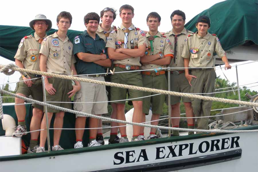 High adventure scout troop on liveaboard Sea Explorer