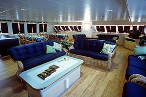 The Bahamas Yacht Aqua Cat has a large main salon.