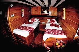A twin cabin of the Indonesia dive liveaboard All Star Aurora