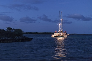 The charter yacht Cat Ppalu anchored in the Exumas, Bahamas