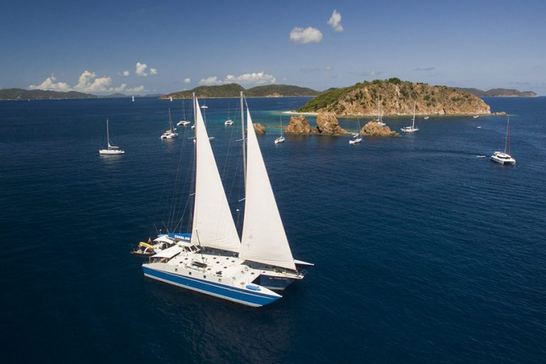 Caribbean dive liveaboard Cuan Law in the BVI. This charter yacht is the world's largest trimaran.