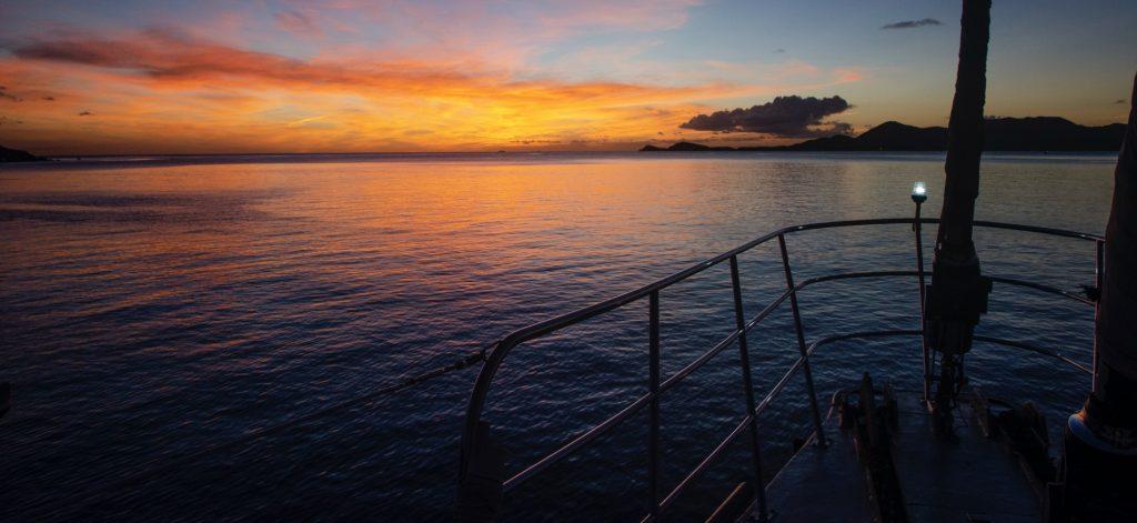 Sunrise aboard Cuan Law in British Virgin Islands