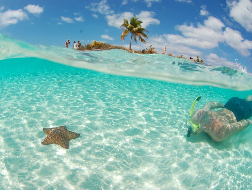 A snorkeler off the charter yacht Cat Ppalu, Private Yacht charters to the Exuma Cays Land and Sea Parkl