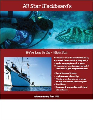 Blackbeard's Cruises dive shop flyer.