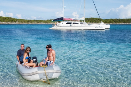 Charter catamaran to Exuma Cays, Bahamas for scuba diving, beach going, snorkeling and fishing