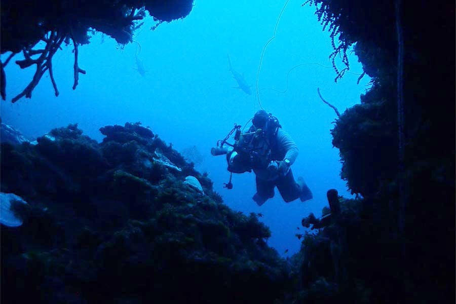 Diver exploring a cave in Jardines de la Reina (Gardens of the Queen). A popular scuba diving vacation spot.