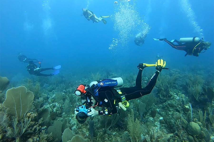 A group of divers off the Cuban scuba diving liveaboard All Star Avalon II on a reef in the Gardens of the Queen