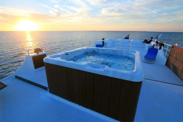 Hot tub on the scuba diving liveaboard All Star Avalon II. A perfect place to end a day of scuba diving.